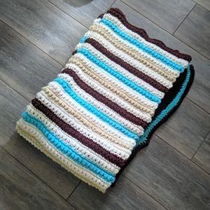 Handmade crochet blue, brown,white, cream afghan